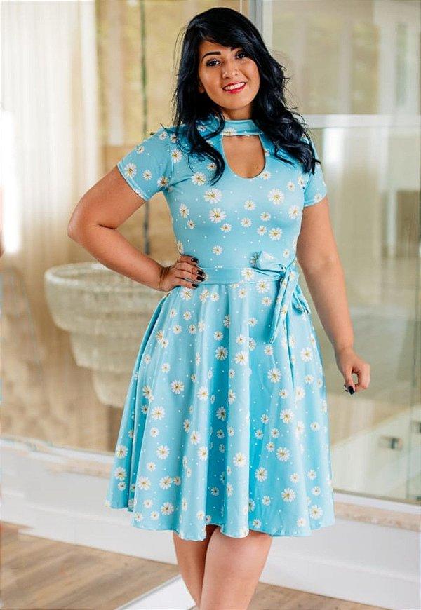 Vestido Godê com Gola Suplex Azul Margaridas