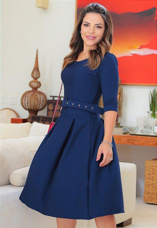 Vestido Midi Crepe Malha Azul com Pregas
