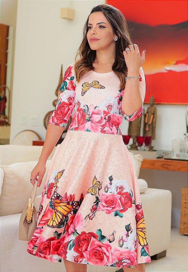 Vestido Midi Godê Neoprene Floral e Borboletas