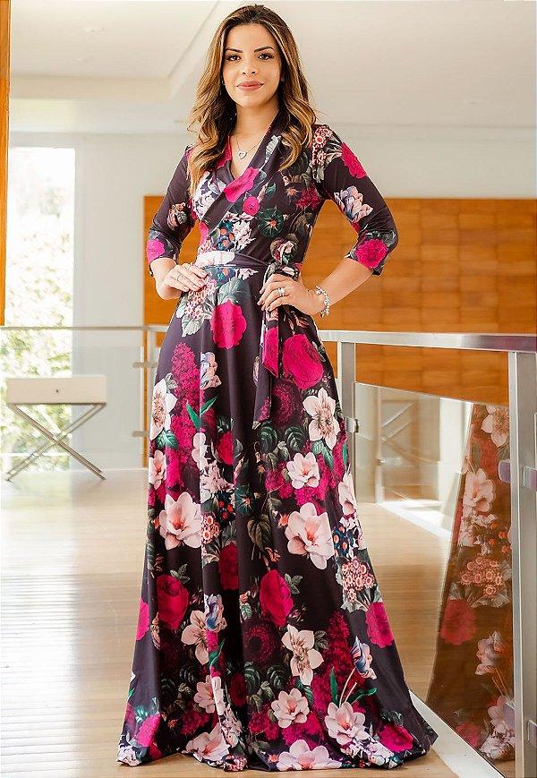 Vestido Longo Suplex Floral Transpassado