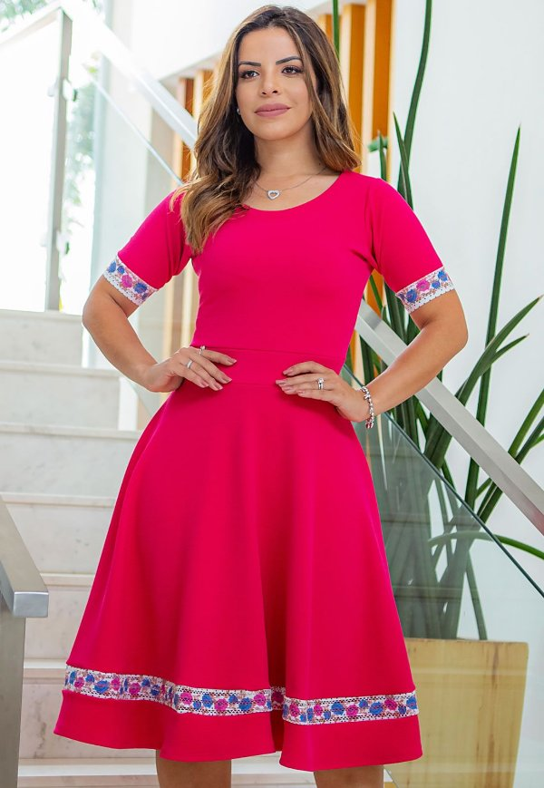 Vestido Midi Rosa Pink Crepe Malha