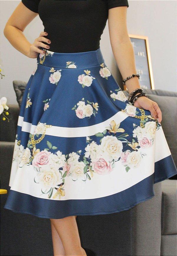 Saia Midi Godê Neoprene Azul Floral