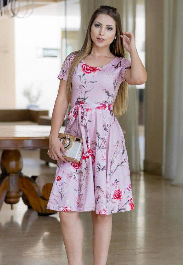 Vestido Midi Suplex Rose Estampado