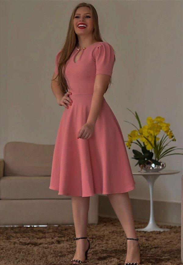 Vestido Midi Princesa Crepe Malha Rose