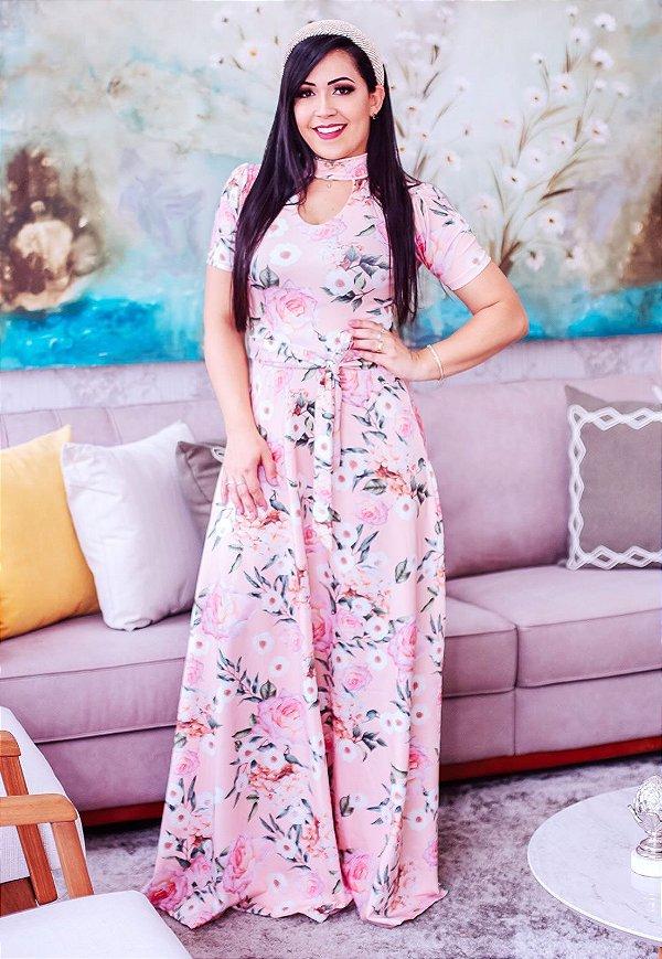 Vestido Longo Florido Gola Choker