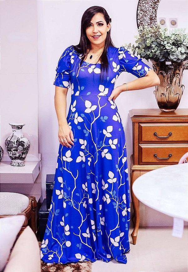 Vestido Longo Malha Azul Estampado