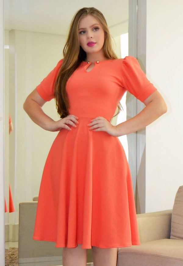 Vestido Midi Princesa Crepe Malha Salmão