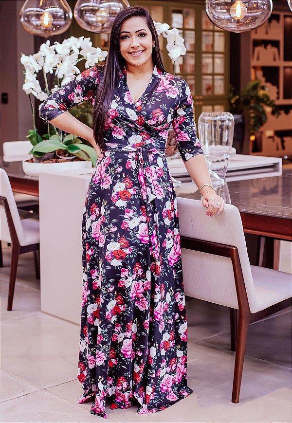 Vestido Longo Estampa Floral Suplex