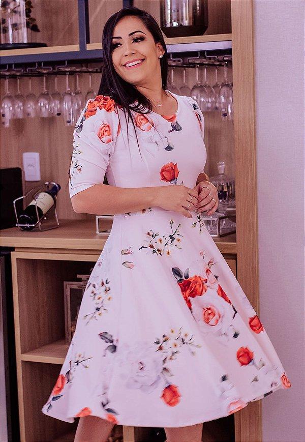 Vestido Midi Godê Rosas Crepe de Malha