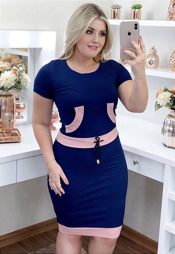 Vestido Esportivo Malha Canelada Azul