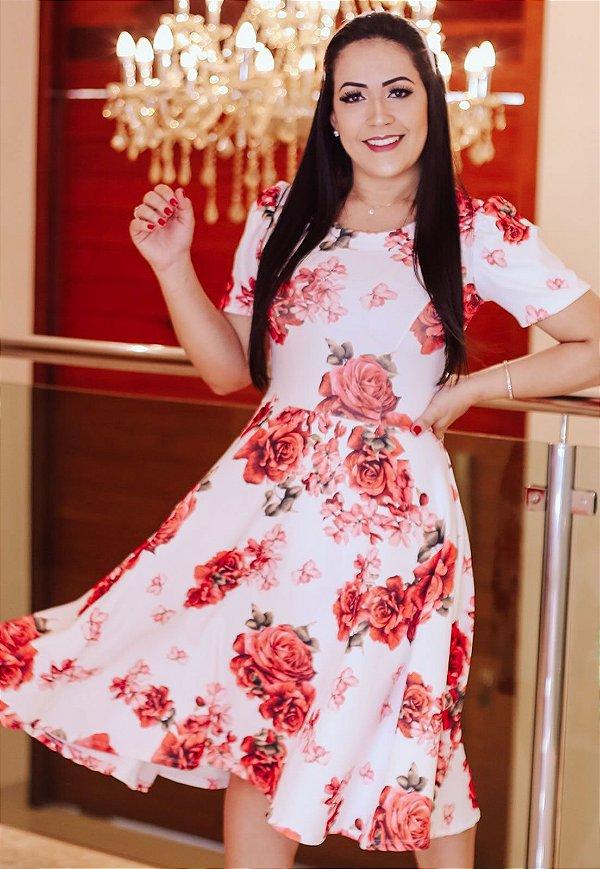 Vestido Midi Estampa de Rosas Crepe Malha