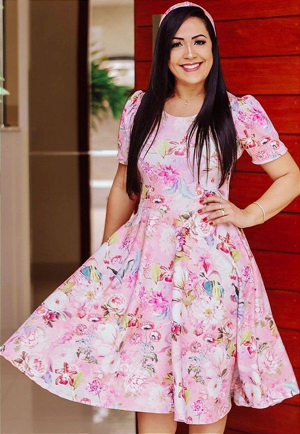 Vestido Midi Godê Rosa com Floral