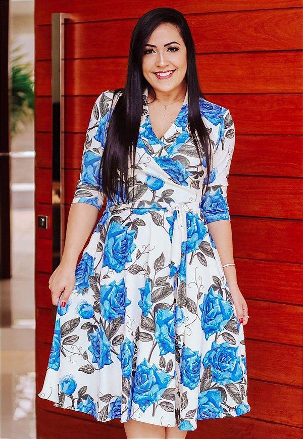Vestido Godê Decote Transpassado Rosas Azul