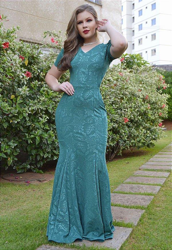 Vestido Longo Sereia Jacar Verde