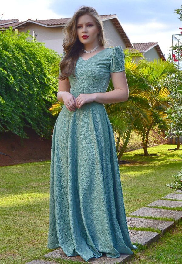 Vestido Longo Festa Jacar Verde