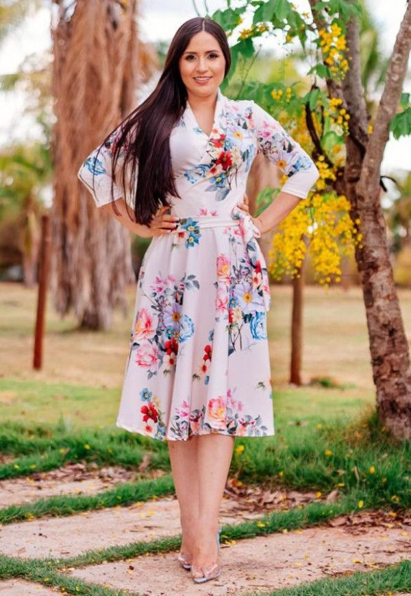 Vestido Midi Godê Suplex com Floral