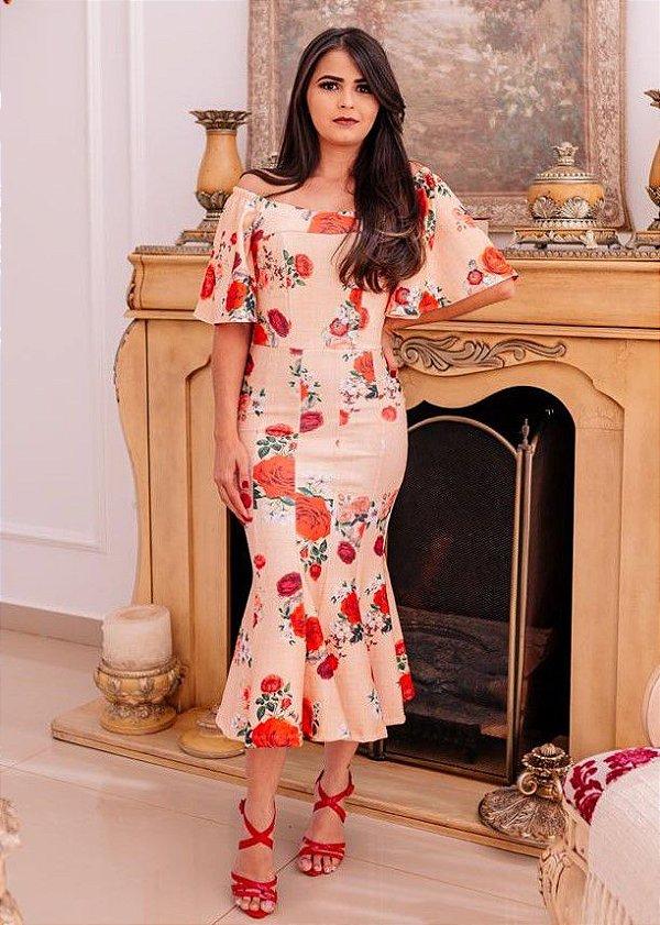Vestido Peplum Floral em Crepe de Malha Carimã