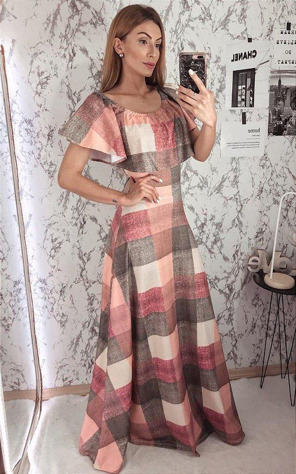 Vestido Longo Estampa Quadrados em Suplex Soft Intermediário