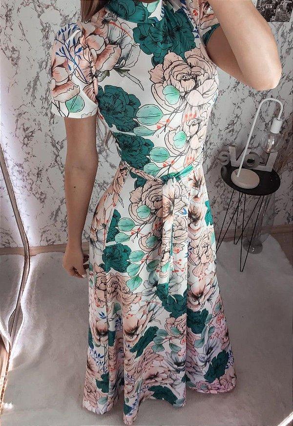 Vestido Longo Estampa Floral em Suplex Soft Intermediário