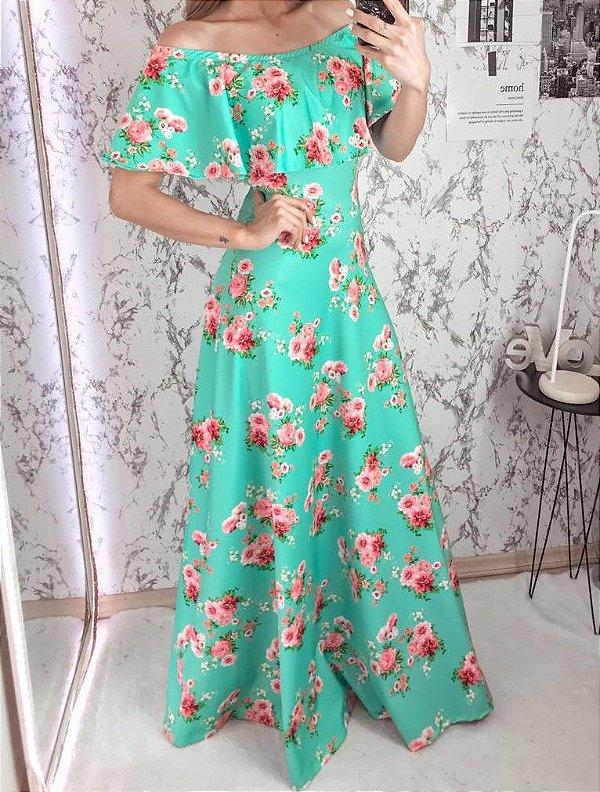 Vestido Longo Verde Floral em Suplex Soft Intermediário