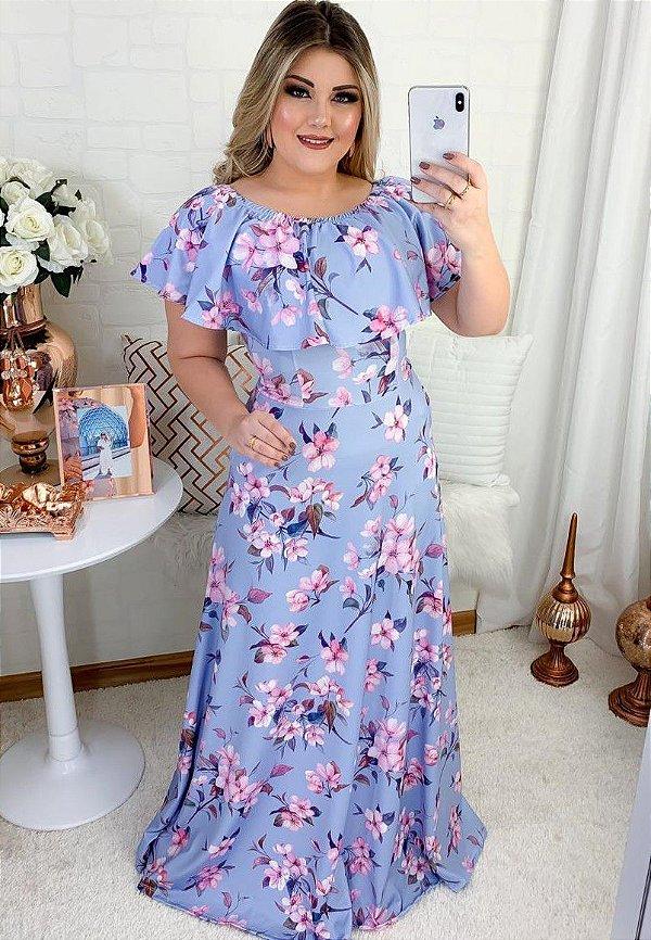 Vestido Longo Azul Gola Oval em Suplex Soft