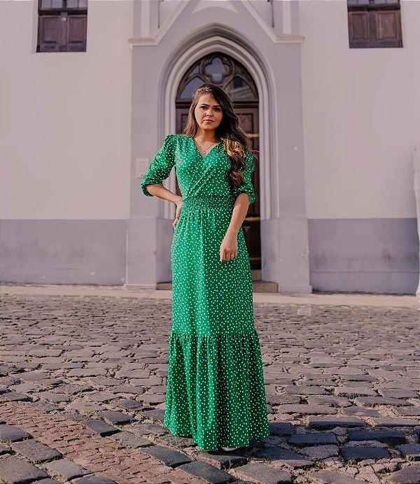 Vestido Longo Verde Estampa Bolinhas em Suplex Soft