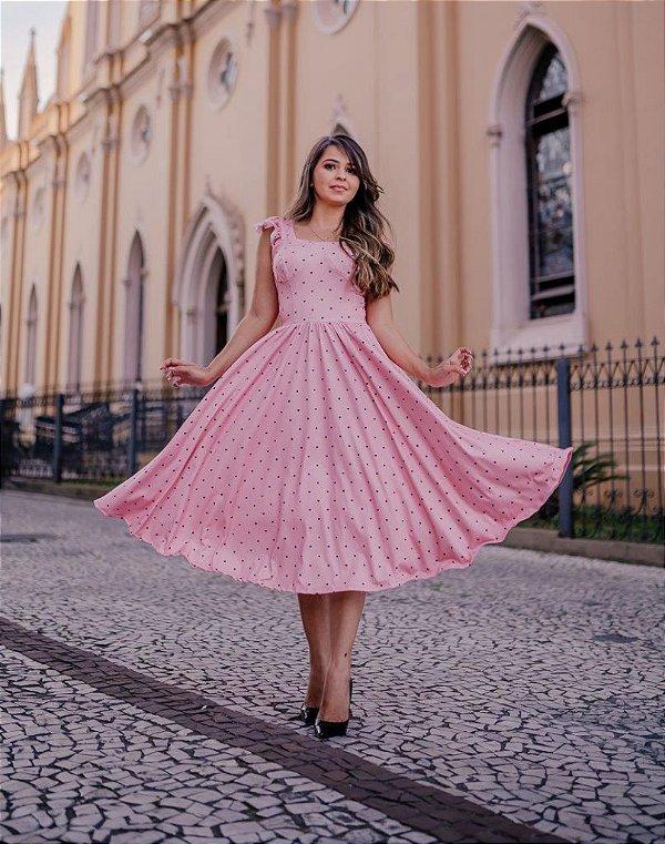 Vestido Midi Godê Max Rosa Estampado em Suplex Soft