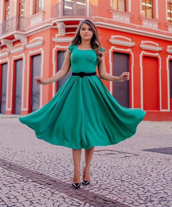 Vestido Midi Godê Max Verde Em Crepe de Malha com Cinto