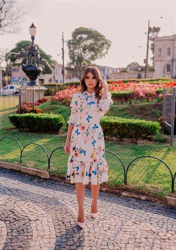 Vestido Midi Godê Evasê Floral em Suplex Soft