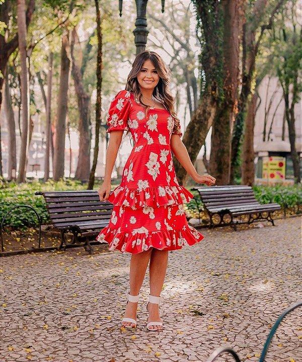 Vestido Midi Godê Vermelho com Babado Duplo em Suplex Soft