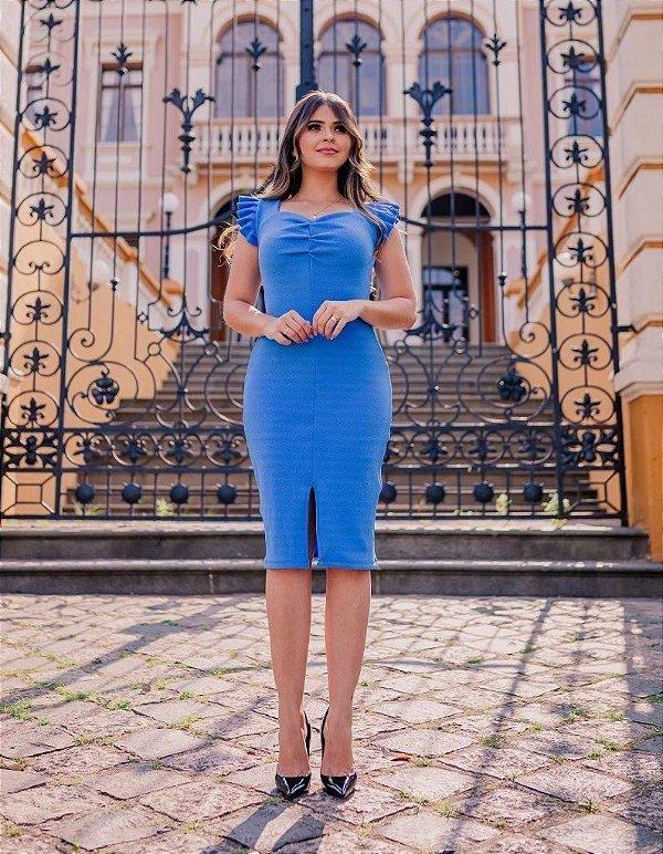 Vestido Tubinho Azul em Crepe de Malha