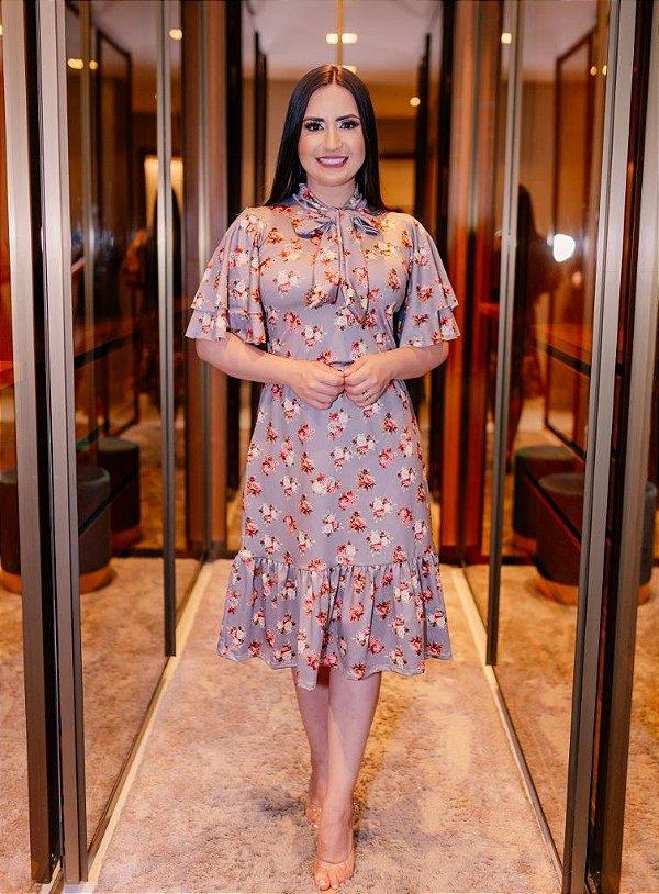 Vestido Midi Godê Evasê Cinza com Estampa Floral em Suplex Soft