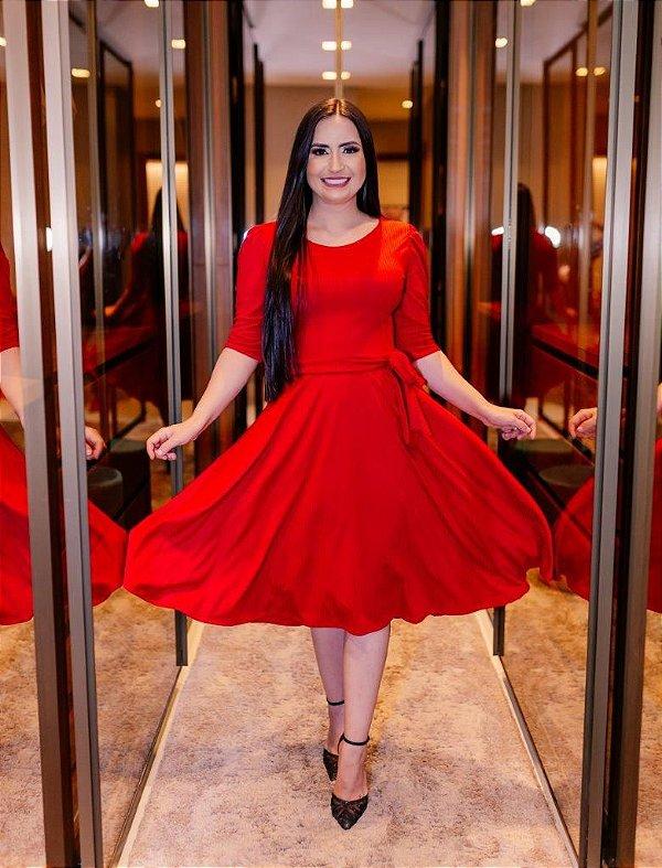 Vestido Midi Godê Vermelho Malha Canelada