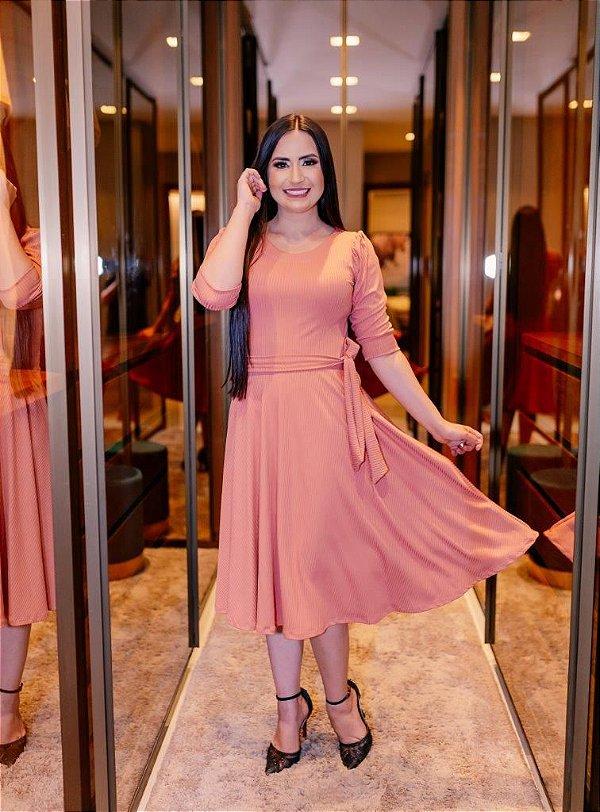 Vestido Midi Godê Rosé Malha Canelada