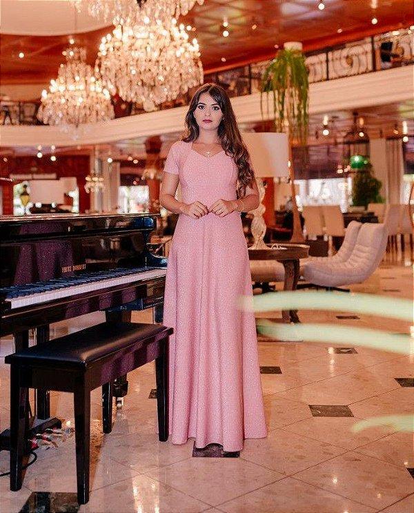 Vestido Longo Rosa em Lurex