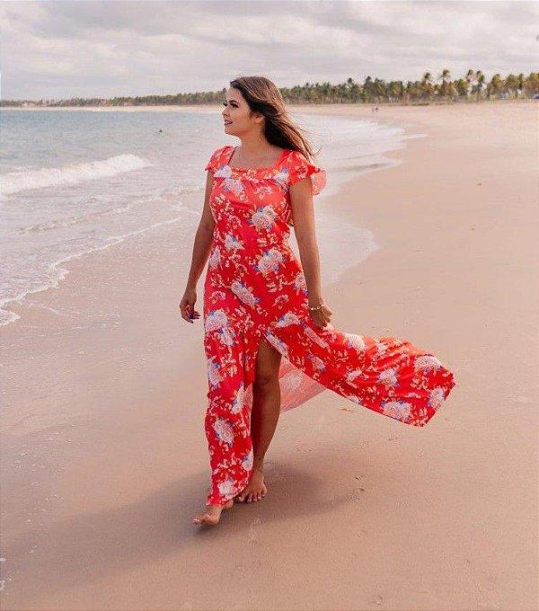 Vestido Longo Estampado Floral com Fenda em Suplex Soft