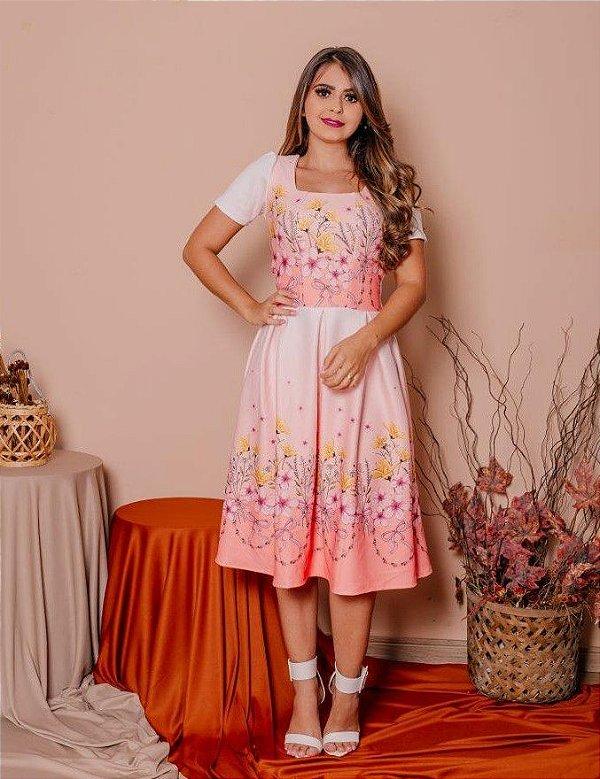 Vestido Midi Godê Rosa e Branco em Crepe de Malha