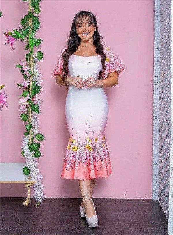 Vestido Midi Peplum Branco com Babado Rosa Floral em Crepe de Malha