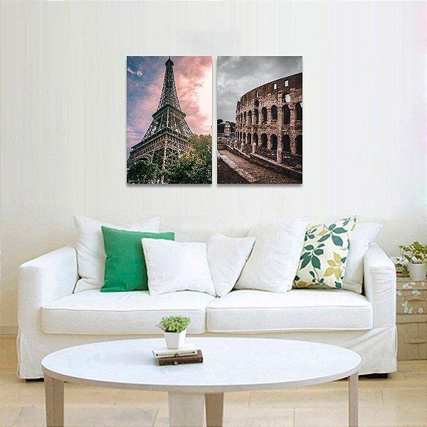 Quadro Torre Eiffel de Paris Coliseu em Roma Kit 2 Quadros