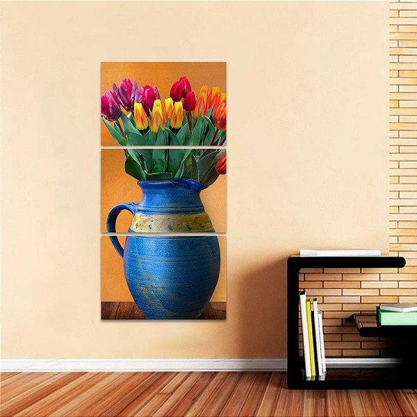 Quadro Vaso de Flores Artístico Conjunto Vertical 3 Peças