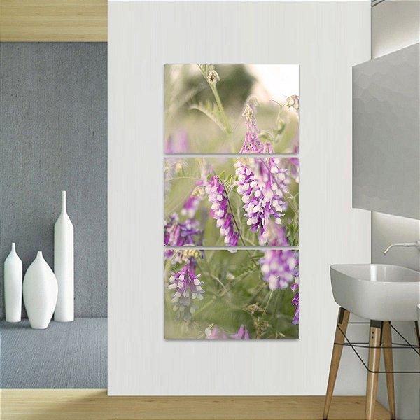 Quadro Campo Flores e Plantas Natureza Conjunto Vertical