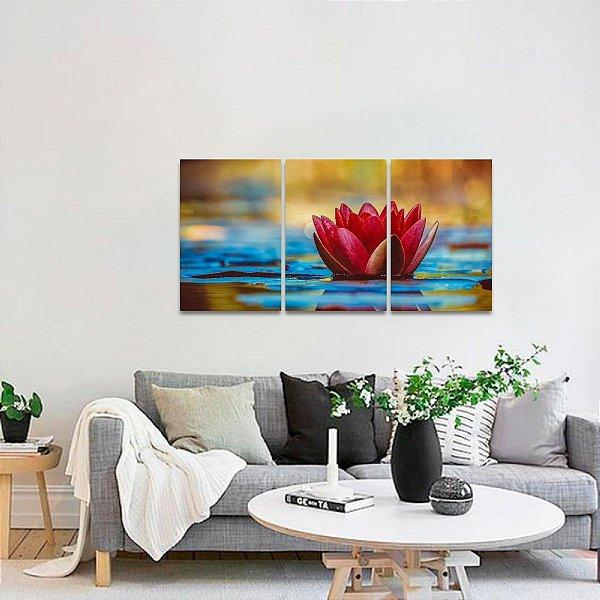 Quadro Flor de Lótus no Lago Conjunto 3 Telas