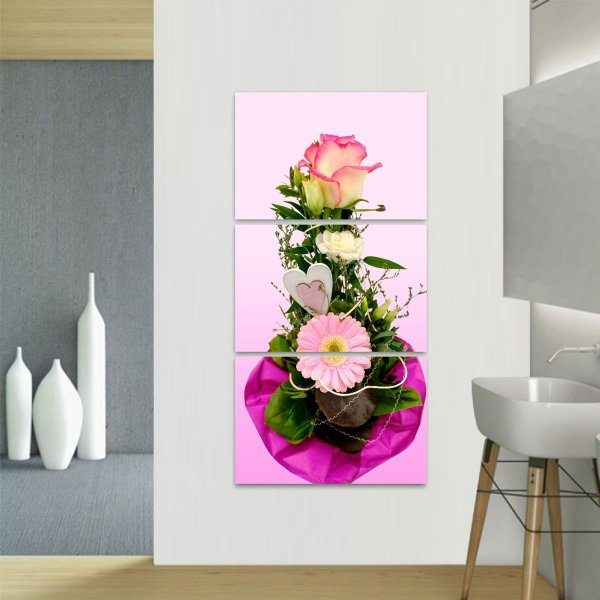 Quadro Conjunto de Flores Artístico decorativo Vertical 3 Peças