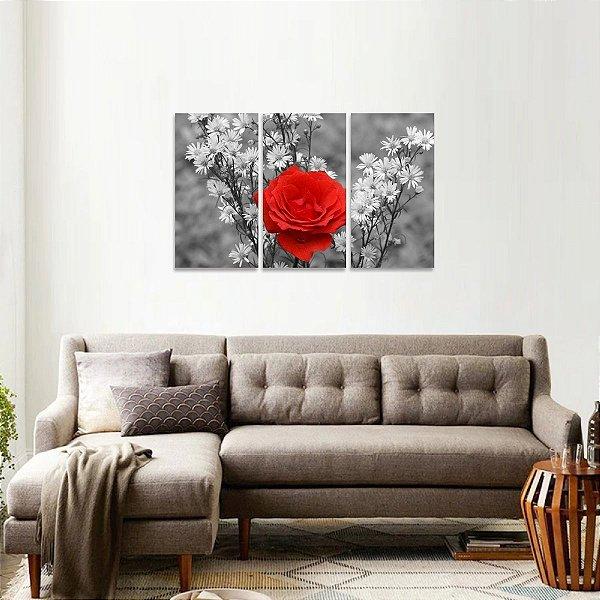 Quadro decorativo Flores em Preto e Branco Rosa Vermelha