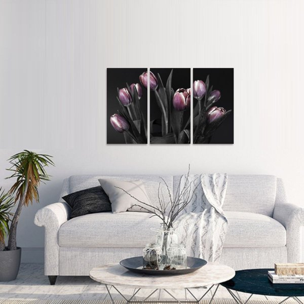 Quadro Tulipas Flores Dark Arte Mosaico 3 Telas