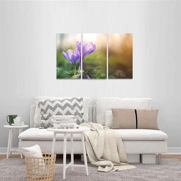 Conjunto 3 Telas Flores Artístico Sol Paisagem