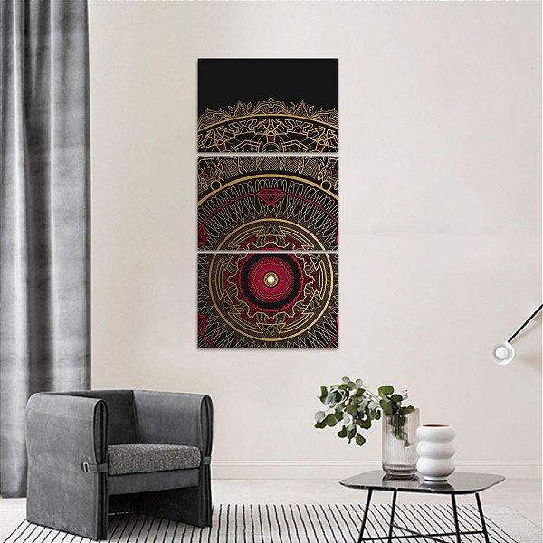 Quadro Conjunto Vertical Mandala Preto e Vermelho 3 Peças