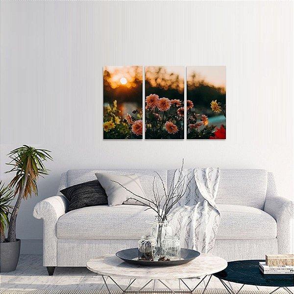 Quadro Campo de Flores e Pôr do Sol Paisagem em 3 Telas