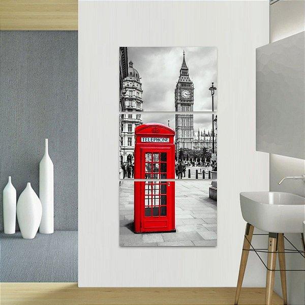 Quadro decorativo Conjunto Vertical Telefone e Big Ben Londres