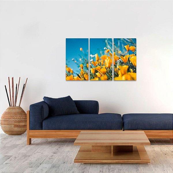 Quadro Flores Amarelas Conjunto 3 Telas Tulipas